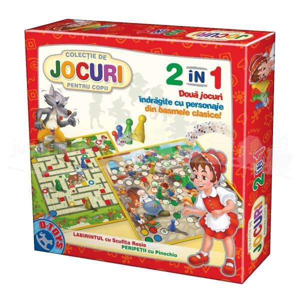 Joc 2 în 1 - Joc Labirintul cu Scufița Roșie și Joc Peripetii cu Pinocchio