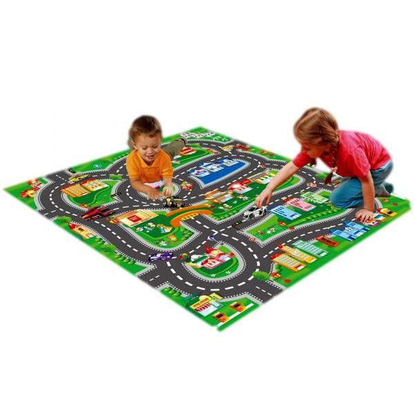 Covoras de joaca copii trafic cu masinute si accesorii de circulatie incluse