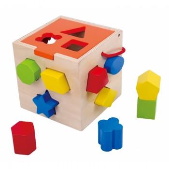 Cub Educativ din Lemn cu Forme pentru sortat