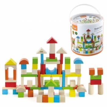 Cuburi de construit din lemn Viga 80 piese in galetusa