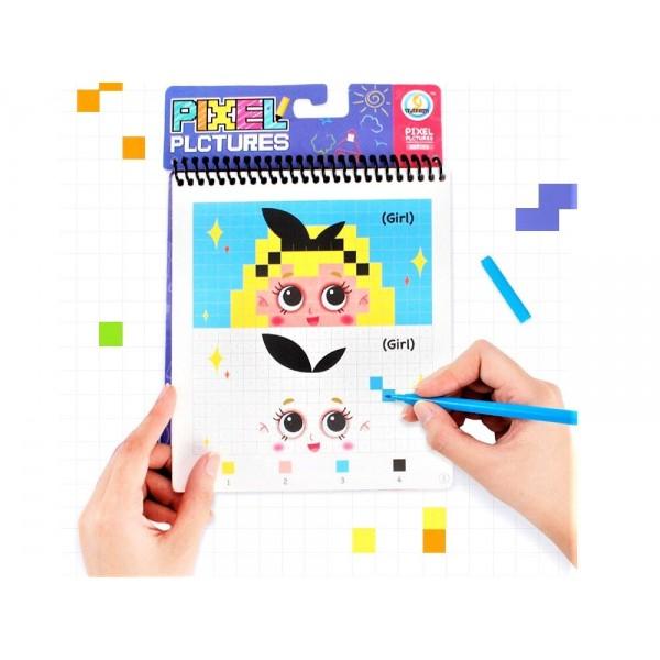 Carte de colorat Pixel Art cu 10 carioci color incluse