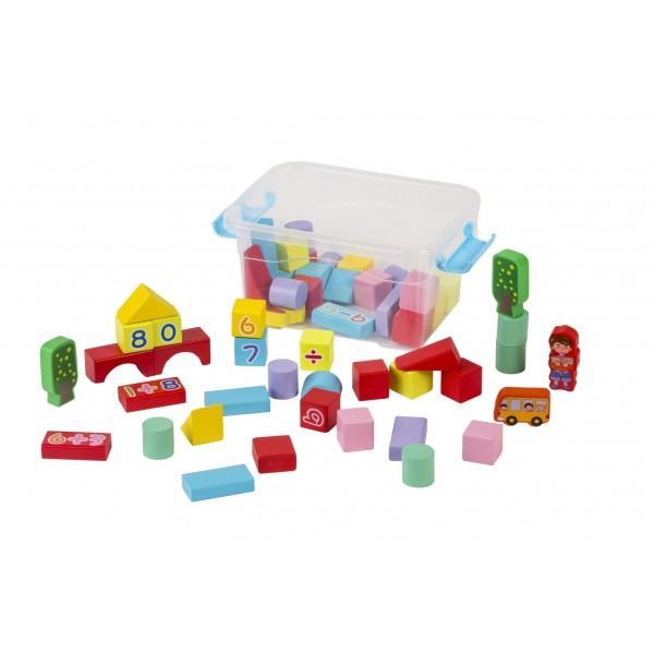 Cuburi de Constructii din Lemn -53 Pcs