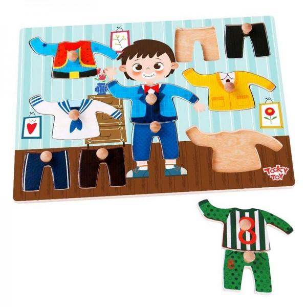 Puzzle din lemn Tooky Toy - Imbraca baiatul