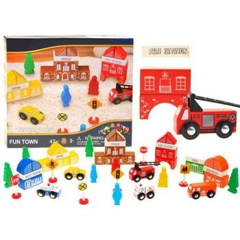 Set Cuburi de Constructii  din Lemn Brigada de Pompieri