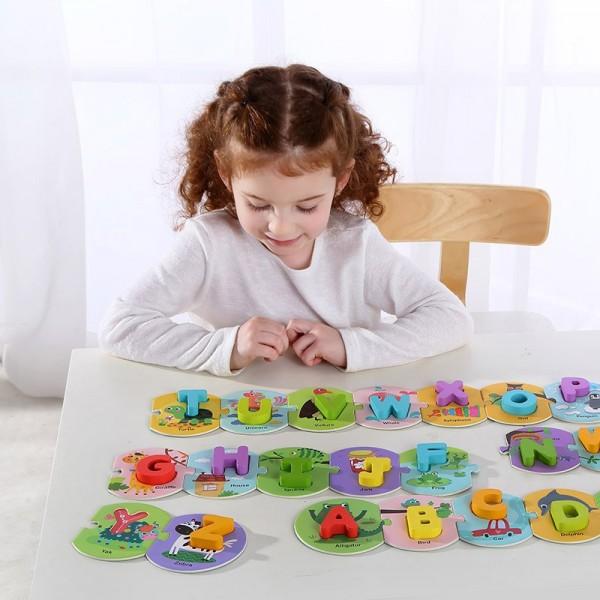 Puzzle Educativ din Lemn Invatam Alfabetul