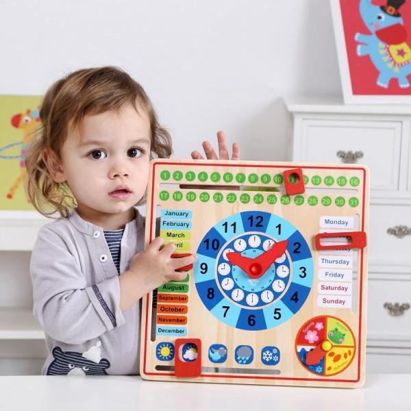 Jucarie Educativa Montessori din Lemn, Calendar si Ceas