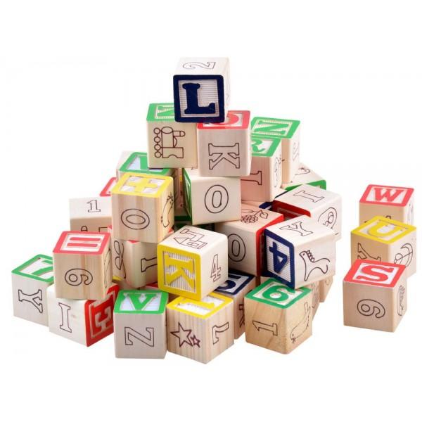 Cuburi din lemn litere si cifre 50 piese