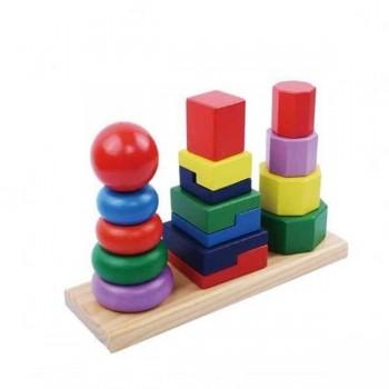Turn Montessori, stivuire si sortare piese din lemn