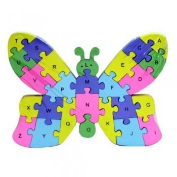 Puzzle din lemn cu Litere si cifre, 26 Piese, Fluture