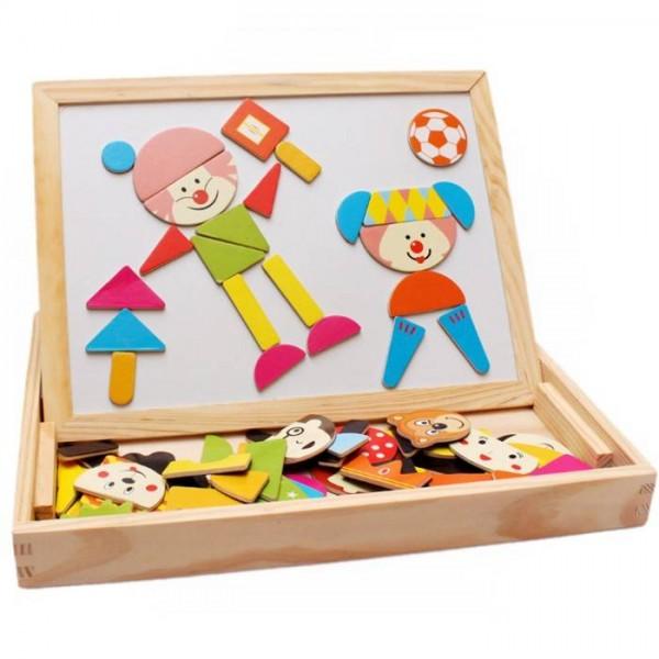 Tabla magnetica cu doua fete, puzzle magnetic, distractie in parc