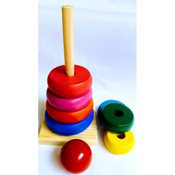 Turn Lemn cu Cercuri Colorate