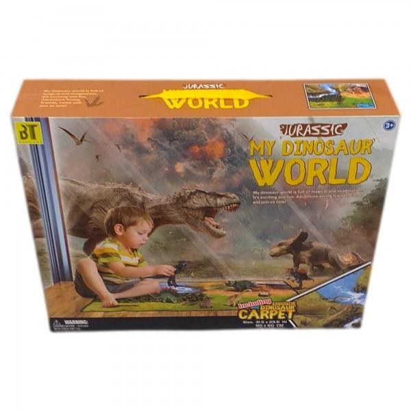 Covoras de joaca pentru copii cu 12 figurine Dinozauri si accesorii incluse