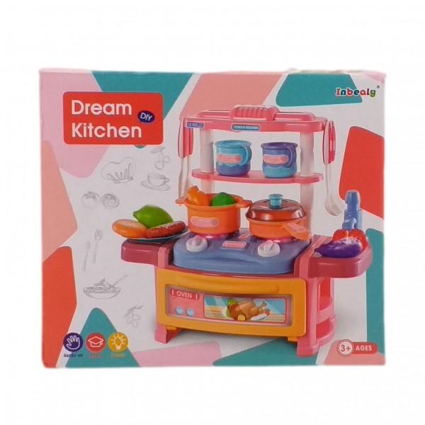 Mini Bucatarie pentru copii cu 19 accesorii, lumini si sunete