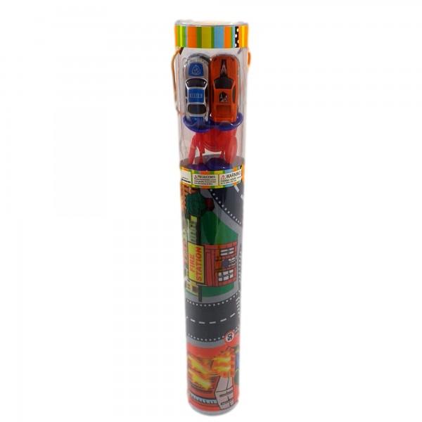 Covoras de joaca copii trafic cu masinute si accesorii de circulatie incluse 70x80cm Pompieri