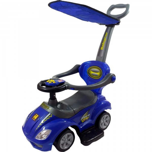 Masinuta de impins pentru copii si bebe, maner de impins pentru parinti inclus,Albastra