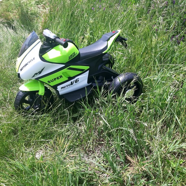 Motocicleta electrica cu 3 roti, 6V, 2 motoare, MP3, Verde