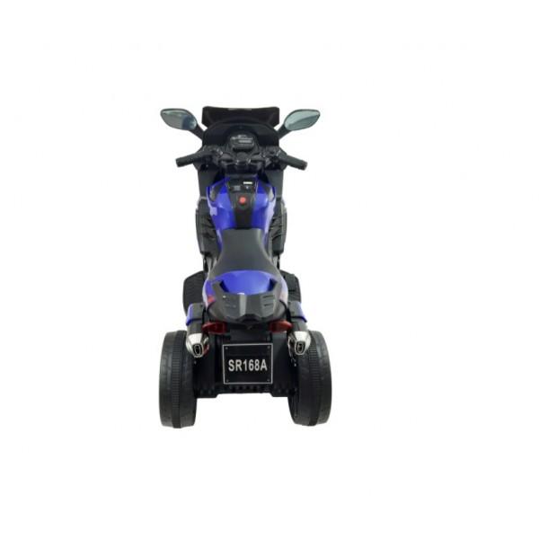Motocicleta cu Acumulator pentru Copii cu Roti Ajutatoare, Mers Fata-Spate, Muzica MP3 si Lumini