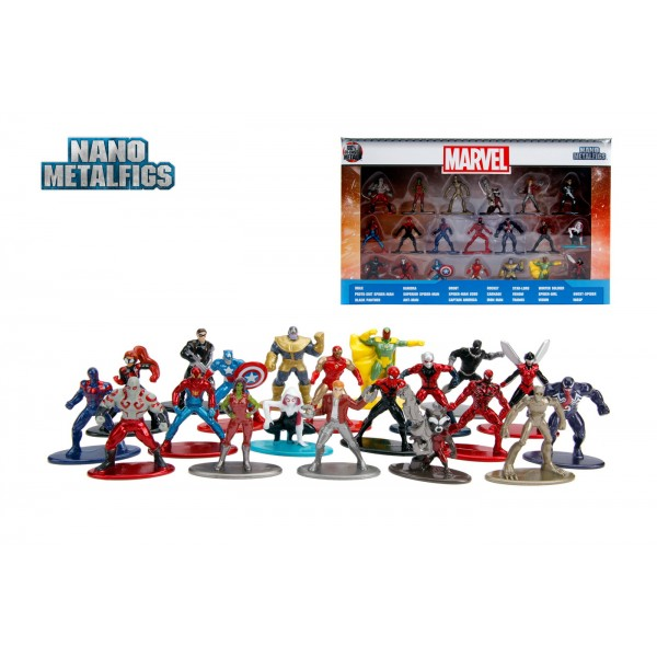 SET 20 DE FIGURINE METALICE CU EROII MARVEL SI FIGURINA BLACK PANTHER INCLUSA