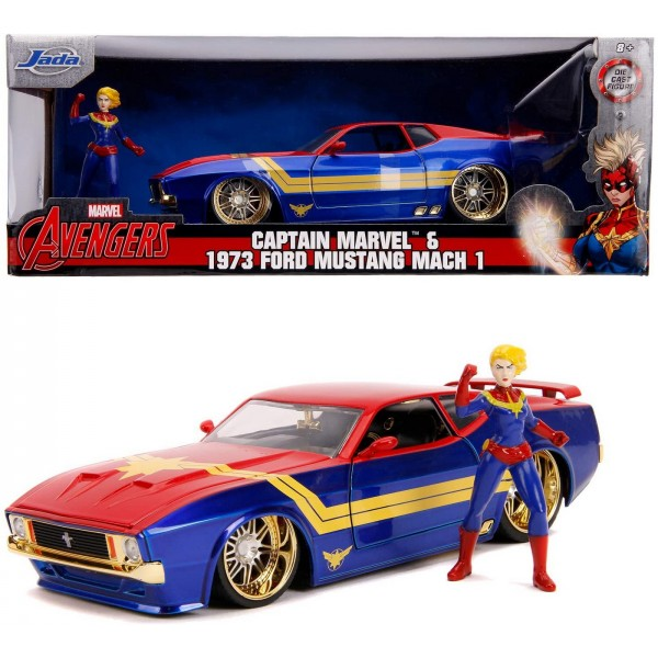 Masinuta Metalica Captain Marvel 1973 Ford Mustang Mach Scara 1 la 24