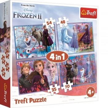 PUZZLE TREFL 4IN1 FROZEN2 CALATORIE CATRE NECUNOSCUT