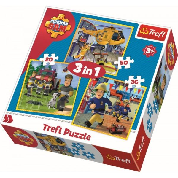 PUZZLE TREFL 3IN1 POMPIERUL SAM
