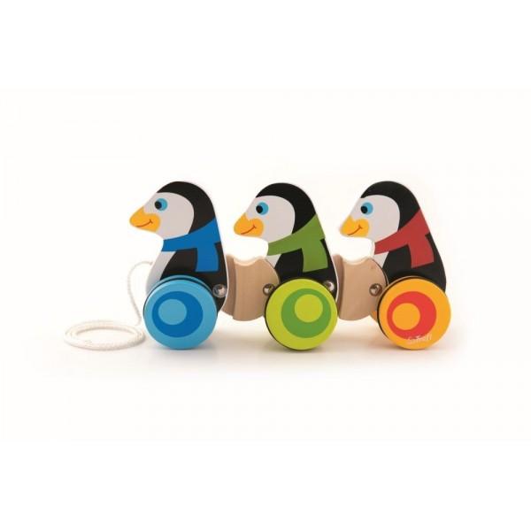 3 Pinguini din Lemn cu Roti si Snur