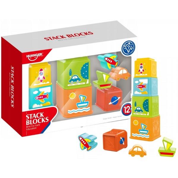 Set Joaca Cuburi pentru Stivuit cu 8 Piese